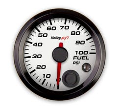 """HOLLEY EFI - 2-1/16"""" FUEL PRESSURE GAUGE - 0-100PSI - CAN BUS - WHITE - 553-129W"""