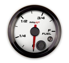 """HOLLEY EFI - 2-1/16"""" FUEL LEVEL GAUGE - PROGRAMMABLE - WHITE - 553-133W"""