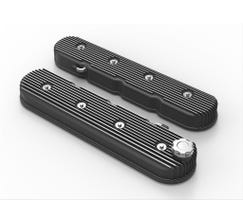 HOLLEY VALVE COVER - TALL - VINTAGE FINNED - BLACK - 241-140