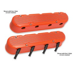 HOLLEY FINNED VALVE COVER - LS - 2-PIECE - ORANGE - 241-183