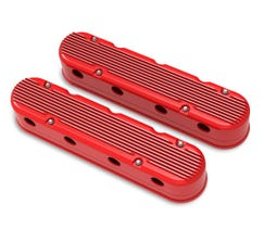 HOLLEY FINNED VALVE COVER - LS - 2-PIECE - RED - 241-184