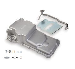 HOLLEY OIL PAN - LS SWAP - 1955-87 GM MUSCLE CAR/TRUCK - FRONT CLEARANCE - FOR STOCK STROKE - NATURAL - 302-2