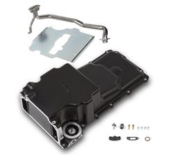 HOLLEY OIL PAN - LS SWAP - 1955-87 GM MUSCLE CAR/TRUCK - FRONT CLEARANCE - FOR STOCK STROKE - 302-2BK