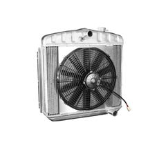 DEWITTS LS SWAP RADIATOR w/ FANS - ALUMINUM - 1955-57 BEL AIR - MANUAL - NATURAL FINISH - 6139012M