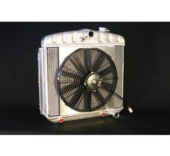 DEWITTS LS SWAP RADIATOR w/ FANS - ALUMINUM - 1955-57 BEL AIR - AUTO - NATURAL FINISH - 6139013A