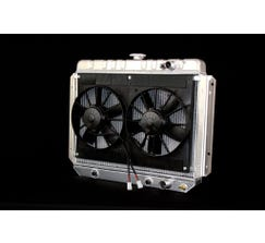DEWITTS LS SWAP RADIATOR w/ FANS - ALUMINUM - 1959-62 IMPALA - AUTO - NATURAL FINISH - 6139014A