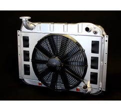 DEWITTS LS SWAP RADIATOR w/ FANS - ALUMINUM - 1955-60 CORVETTE - AUTO - NATURAL FINISH - 6139055A