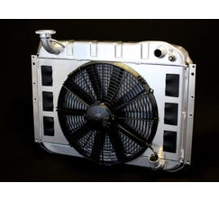 DEWITTS LS SWAP RADIATOR w/ FANS - ALUMINUM - 1955-60 CORVETTE - MANUAL - NATURAL FINISH - 6139055M