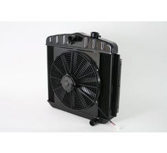 DEWITTS LS SWAP RADIATOR w/ FANS - ALUMINUM - 1955-57 BEL AIR - MANUAL - BLACK FINISH - 6239013M