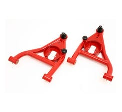BMR FRONT LOWER A-ARMS - 1967-1969 F-BODY - NON-ADJUSTABLE - POLY BUSHINGS - REAR BUMP STOPS - RED - AA009R