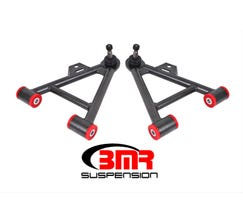 BMR FRONT LOWER A-ARMS - 1979-1993 MUSTANG - NON-ADJUSTABLE - POLY BUSHINGS - USE W/ COILOVERS - TALL BALL JOINT - BLACK - AA038H