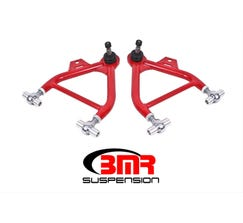 BMR FRONT LOWER A-ARMS - 1979-1993 MUSTANG - ADJUSTABLE - ROD END BUSHINGS - USE W/ COILOVERS - TALL BALL JOINT - RED - AA039R