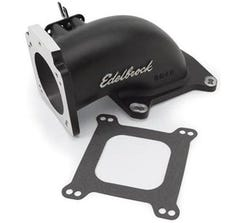 EDELBROCK LOW PROFILE INTAKE ELBOW - 90MM THROTTLE BODY TO SQUARE BORE FLANGE - BLACK - 38483