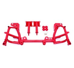 BMR K-MEMBER - LOW MOUNT TURBO - LS1 MOTOR MOUNTS - STD RACK MOUNTS - 1993-2002 F-BODY - RED - KM019R