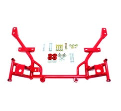 "BMR K-MEMBER - 1/2"" LOWERED MOTOR MOUNTS - STD RACK MOUNTS - 2005-2014 MUSTANG - RED - KM020R"